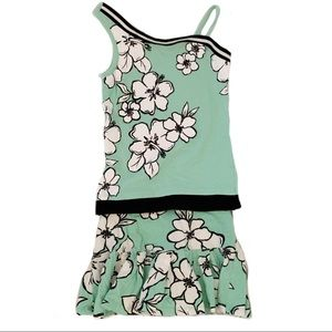 Justice Green Floral 2 Piece Skirt and Top Set